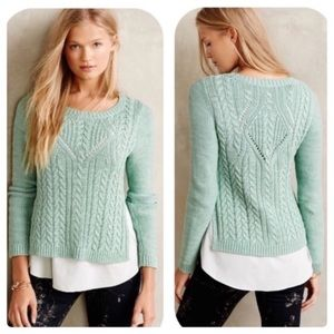 Anthro Moth Cabled Ella Overlay Sweater